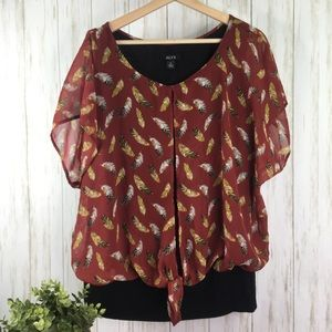 ALYX Wine Feather Print Tie Front Lined Black Top